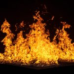 Fire with a black background